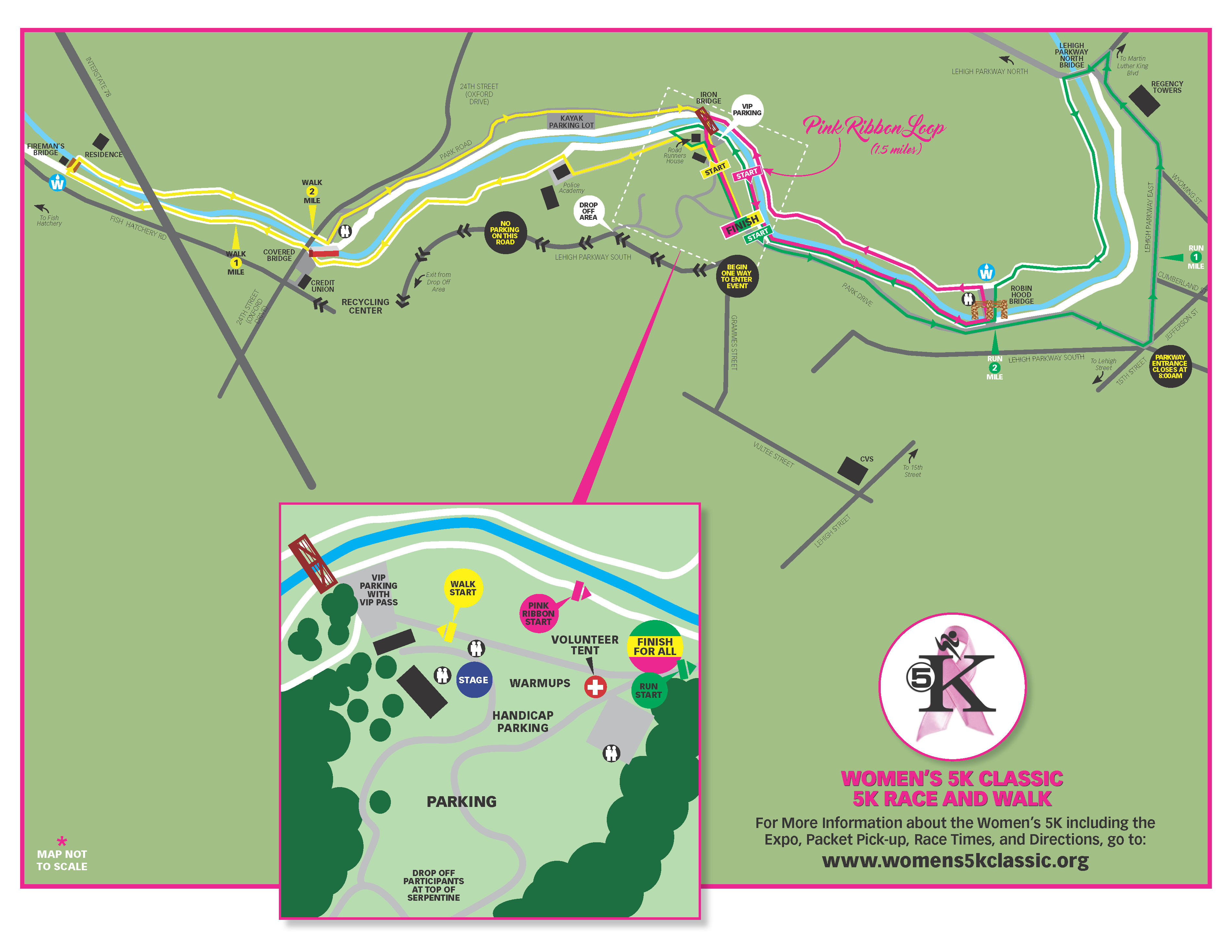 See the course highlighted in PINK arrows for the PINK RIBBON LOOP course